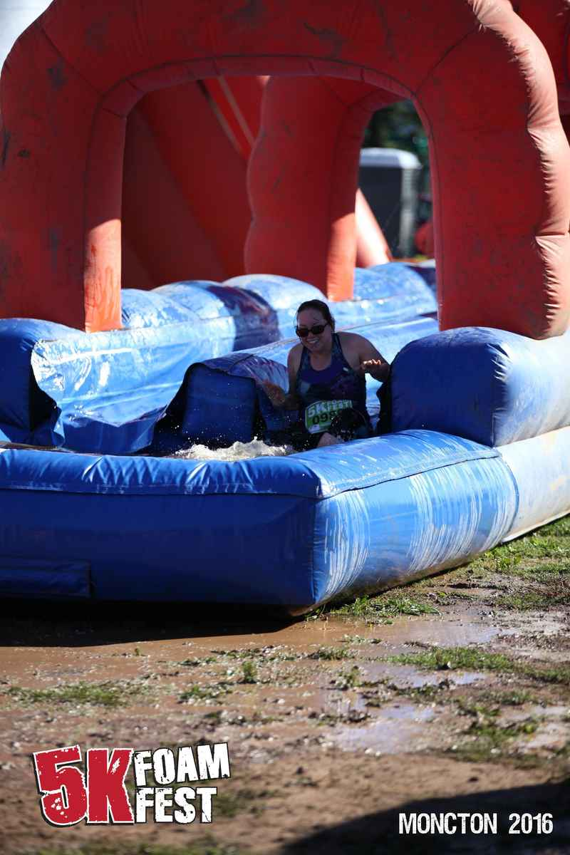 Becky of giant slide at foamfest.
