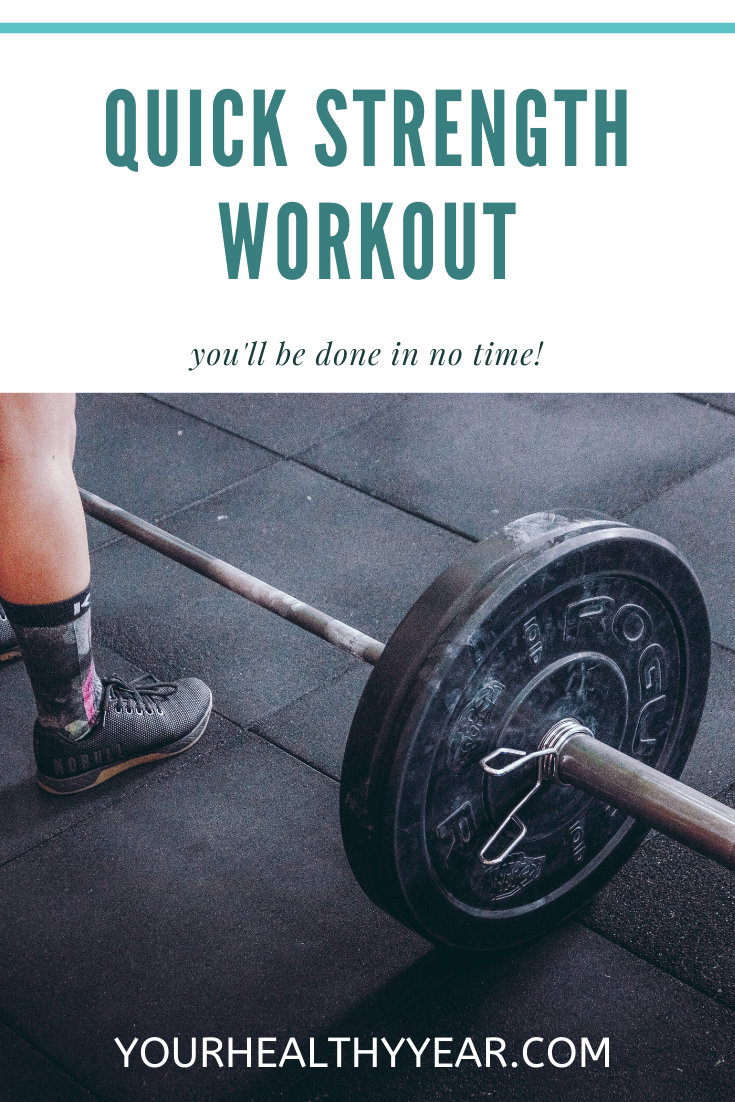 image of dumbbell with the caption Quick Strength Workout, No equipment needed!