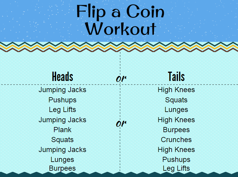 Flip a Coin Workout yourhealthyyear.com